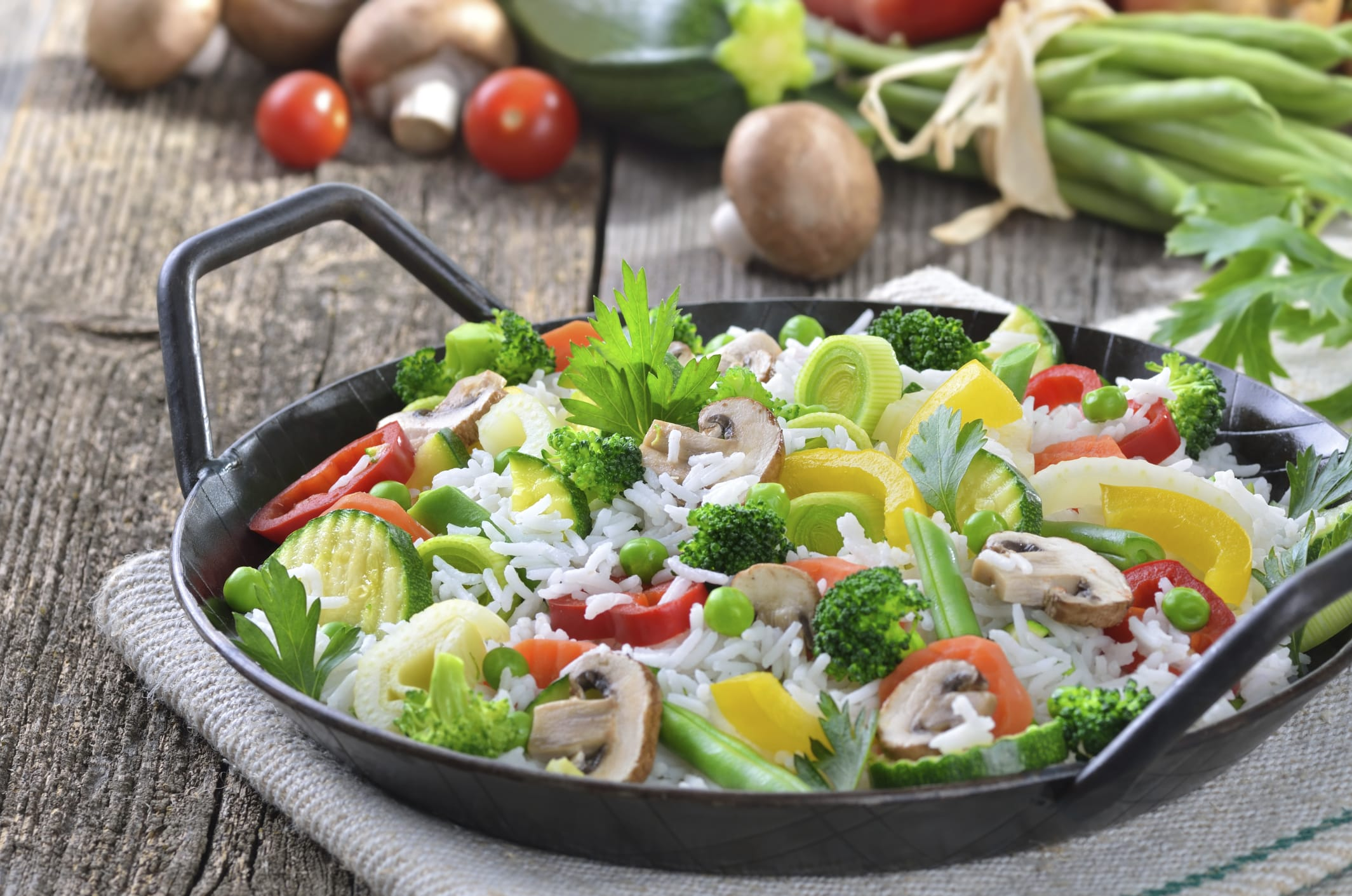 Rice with sauteed vegetables recipe