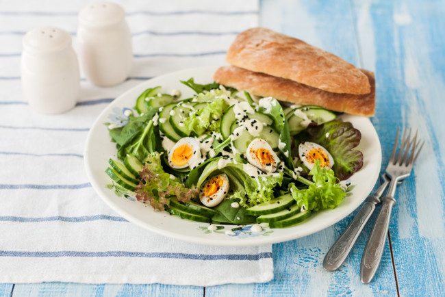 Pineapple Salad With Vegetables, Eggs, And Yoghurt Dressing